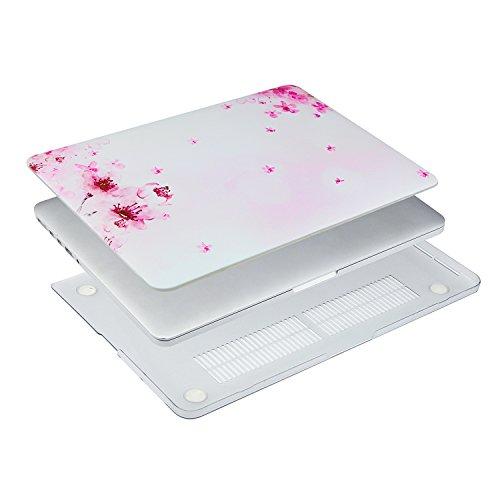 MOSISO Ultra Delgado Plástico Dura Funda Rígida Caso para MacBook Pro 13 Pulgadas con Pantalla Retina sin CD-Rom (A1502 / A1425, Versión 2015/2014/2013/fin 2012), Cuarzo Rosa Sakura Rosa En La Base Blanca