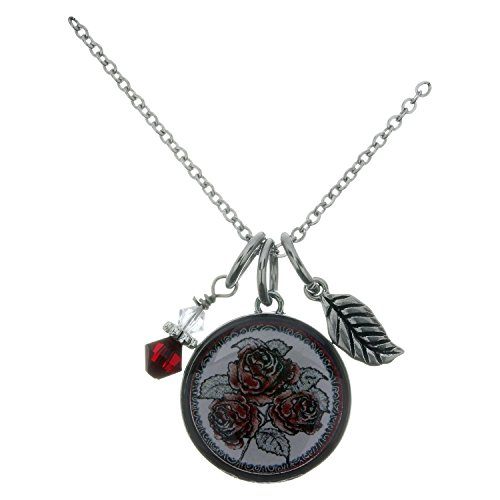 Spirit Lala Red Rose Circular Reversible Pendant Necklace With Crystal and (Crystal Circular Charm)