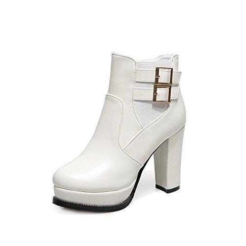 Imitated talón ruedas Chunky de amp; hebilla piel plataforma con N A Heels Mujer Botas zapatos Blanco fq1PBS