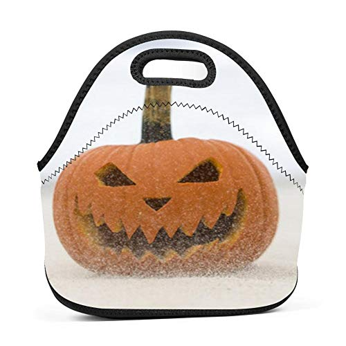 dreambest Pumpkin Face On The Snow Universal Neoprene Sleeve Lunch Bag Insulated Warm/Cold Lunchbox Cooler Pouch Tote -
