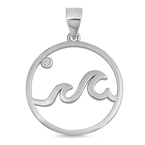 Cute! Wave Ocean Beach Charm .925 Sterling Silver Pendant