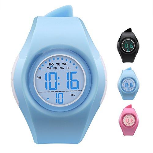 Unisex LED Light Digital Sports Wrist Watch - Blue - 7