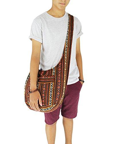 b1cdcbda4dc5 Tribal Hmong Striped Ethnic Cotton Boho Sling Shoulder Thai Pattern ...
