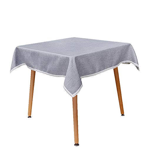 MANVEN Tablecloth for Square Table 52x52 inch Light Gray,Natural Linen Cotton Stain Resistant,Easy Care Table Cloth/Cover,with Lace Edge for Small Card/Kitchen/Patio/Coffee Table,Christmas,Event,Party for $<!--$38.98-->