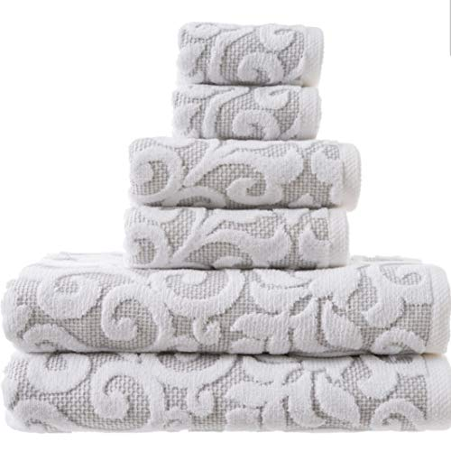 Tahari Home Bathroom Towel Set 6 Pc Sroll Filligree Floral Medallion Gray White Bath Bathroom Towels Cotton (Floral Bath Towels)