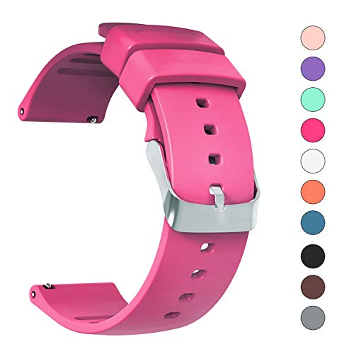 IELIELE Compatible 20mm Watch Band, Waterproof Replacement Wristbands Straps for Samsung Gear S2 Classic/Withings (Nokia) Steel HR 40mm/ Galaxy Watch 42mm(Rose Red, 20mm)