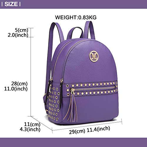 Pouch Handle Lulu Miss Studded Bag Detail Grab Logo M Pu Handbags Hole Purple Backpack With Zipper Front Shoulder Women Fashion Leather Sxxq6Pw