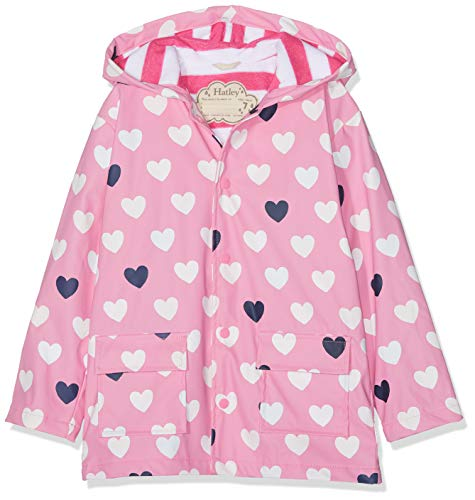 Hatley Girls' Big Printed Raincoats, Color Changing Lovely Hearts 10 Years ()
