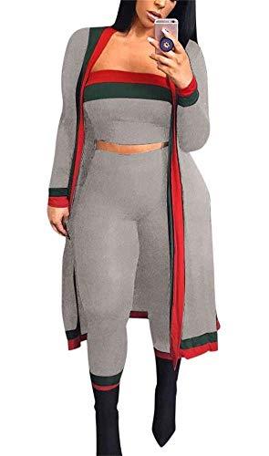 (LKOUS Fall 3 Piece Outfits for Women Long Sleeve Kimono Cardigan Cover Up Bandeau Tube Crop Top High Waist Long Pants Set Plus Size)