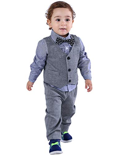 (Abolai Baby Boys' 3 Piece Vest Set with Shirt,Vest and Pant Grey 70)