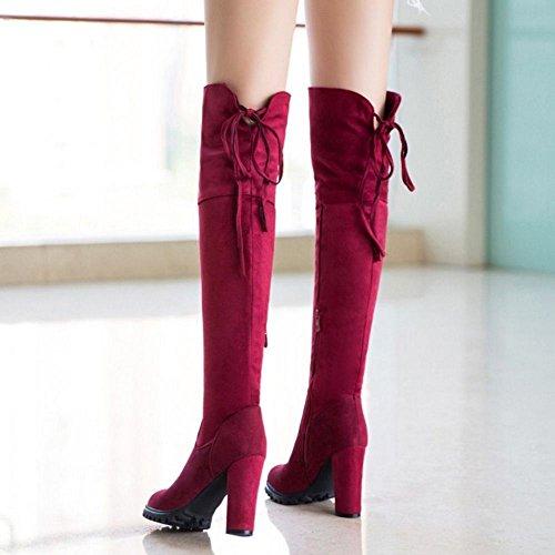 COOLCEPT Mujer Occidental Sobre Rodilla Botas Elasticas de Tacon Ancho Cremallera 31 Red