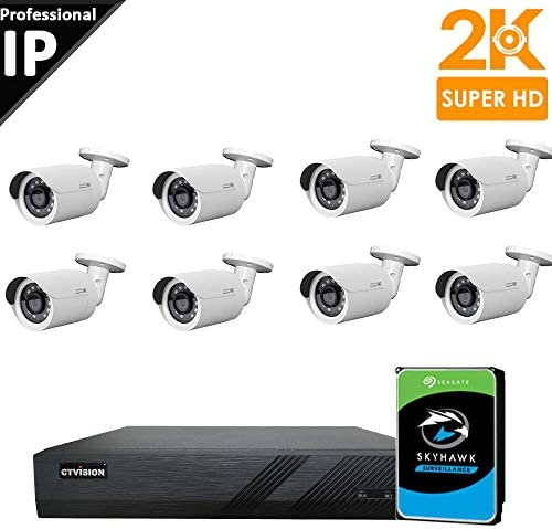 CTVISION 5MP 2.5X1080P Home Business Security Camera Systems,8-Channel PoE Video Security System 2TB HDD ,8pcs 5MP Outdoor Weatherproof Nightvision 90 Viewing Angle Bullet PoE IP Security Camera
