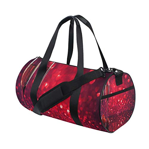 (Gym Bag Champagne And Two Red Hearts Duffel Bag Sport&Travel Lightweight for)