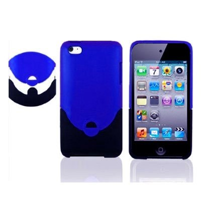 2Tone (Blue + Black) Rubberized HARD CASE FOR Apple iPod Touch 4G, 4 G, 4th Generation, 4th Gen - compatible with 8GB / 32GB / (Ipod 4th Gen Case Blue)