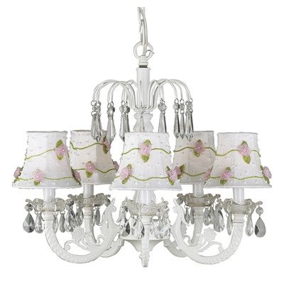 - Jubilee Collection 7077-2702 5 Arm Water Fall White Chandelier with White/Pink Petal Flower Shade