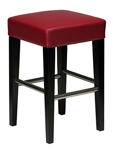 Cortesi Home Denver Red Counter Stool in Genuine Leather with Black Legs