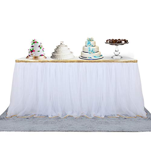 14' High Table - Fulu Bro 14 ft White Tulle Table Skirt Tutu Tablecloth Skirt with Fluffy 2 Layers Gold Trim Mesh for Rectangle or Round Tables for Baby Shower Wedding Birthday Party Decorations