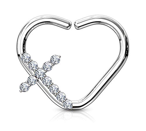 Earring Right Cartilage - Forbidden Body Jewelry Platinum Plated Heart w/CZ Cross Daith & Cartilage Hoop Earring (Right Ear)