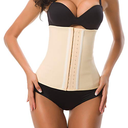HURMES Women's Latex Sport Girdle Waist Trainer Corset - 3 Hook Long Torso Underbust Body Shaper for Weight Loss (Beige, XS) ()