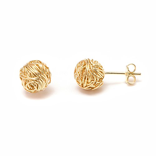 Barzel 18K Gold Plated Gold 10mm Woven Love Knot Stud Earrings