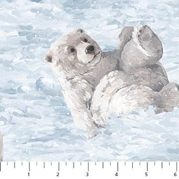 White Artic Polar Bear Cub Playing In Snow Flannel Northcott Fabric F21233-41 ()
