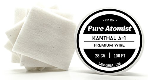 Kanthal & 20 pcs. Japanese Unbleached Cotton Pads - 100 ft 28 Gauge AWG A1 Round Wire 0.32mm A-1 28g
