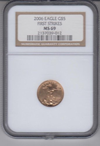 2006 American Gold Eagle $5 1/10 OZ. .999 Fine Gold Coin Certified $5 MS69 NGC