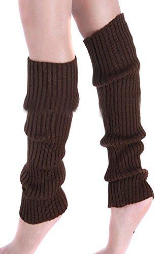 Eforstore Pure Effen Fluorescentie Kleur Winter Been Voet Warmer Kniehoge Knit Breien Boot Sokken Socking Legging Voor Vrouwen En Meisjes Koffie