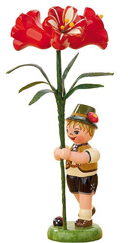 Small Figures & Ornaments Flower child boy with Amaryllis - 11cm / 4,3inch - Hubrig Volkskunst