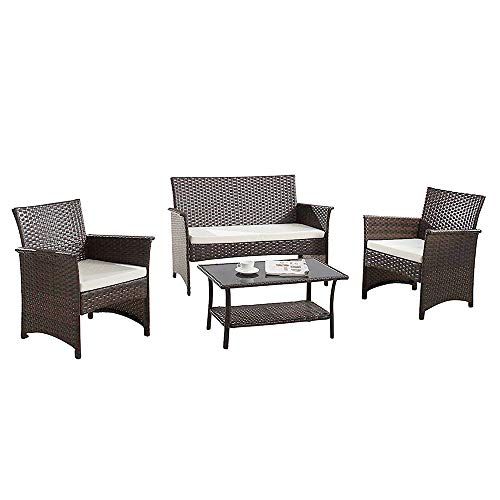 Modern Outdoor Garden, Patio 4 Piece Seat - Gray, Espresso Wicker Sofa Furniture Set (Espresso) ()