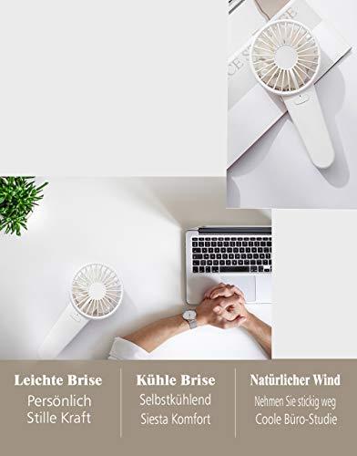 Reente USB Ventilator, Double Blades und Double motor lüfter mit 4 modus, Mini USB Leise Ventilator mit 2000mAh Akku, Tragbarer USB-Lüfter für Zuhause, Büro und Raum
