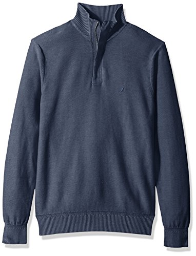 Nautica Men's Long Sleeve 1/4 Zipper Medium Weight Sweater, Navy, (Nautica 1/4 Zip Sweater)