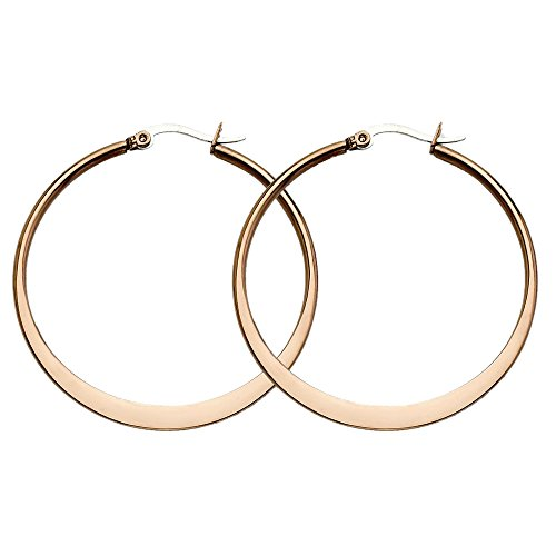 Stainless Steel Brown Shiny Round Hoop Earrings - 43mm from Chisel