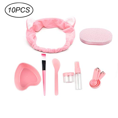 URfashion Facial Mask Bowl 10 in 1 Cat Shape Headband Spray Brush Stick Spatula Puff Measure Spoon Lady face Skin Care Mask Mixing Tool Sets