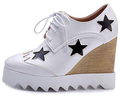 reputable site 8e7a9 299a9 Summerwhisper Kvinna Trendiga Stjärnor Fyrkantig Tå Snörning Pumpar Skor  Kil Hög Klack Plattform Sneakers Vita