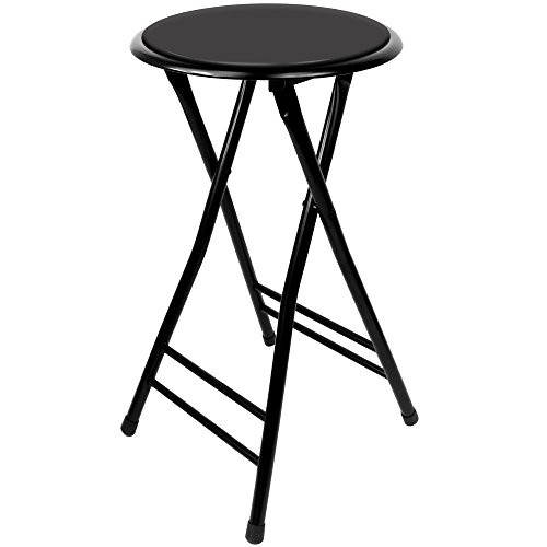 (Trademark Home A022273 Folding Heavy Duty 24-Inch Collapsible Padded Round Stool with 300 Pound Capacity for Dorm, Rec Room or Gameroom (Midnight), Midnight Midnight)