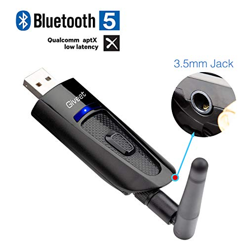 Giveet Portable USB Bluetooth Audio Transmitter Adapter Dongle for PC Desktop Laptop Mac, with 3.5mm Aux, Voice Chat, Skype Calls, Dual Link aptX Low Latency, Plug and Play, Support All Windows 10 8 7
