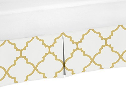 Sweet Jojo Designs Toddler Bed Skirt for Girls White and Gold Trellis Lattice Bedding Sets
