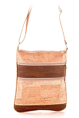 Artelusa Cork Crossbody Bag Natural/Chocolate with Zips Adjust/Strap Eco-Friendly Handmade in Portugal