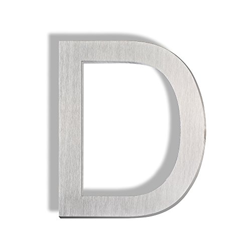 Mellewell Floating Mount House Letters 5 inch, Stainless Steel Brushed Nickel, Letter D