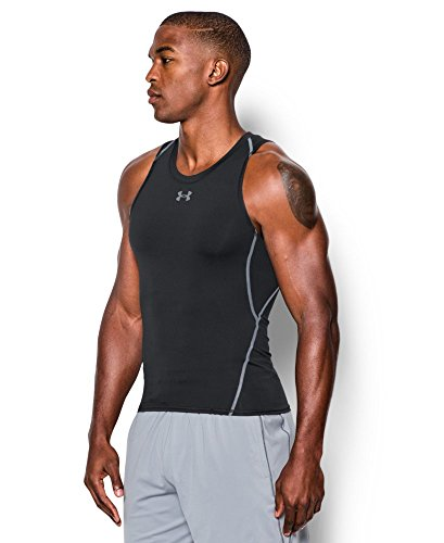 Under Armour Men's HeatGear Armour Compression Tank Top, Black /Steel, Large by Under Armour (Image #2)