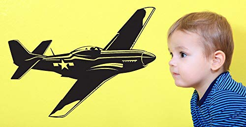 P-51 Mustang Fighter Aircraft WWII Navy Airforce Airplane Plane World War II I Vinyl Sticker Star Wall Decal Home Kid's Decor and Stick Made in USA ()