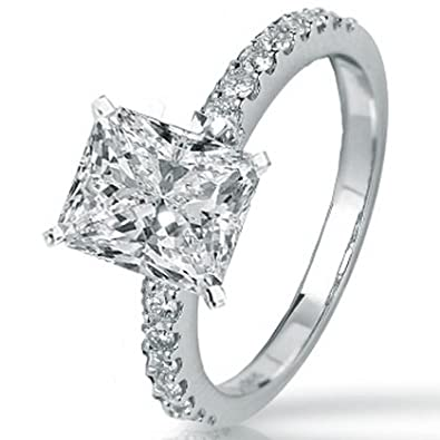0.94 Carat GIA Certified Radiant Cut / Shape 14K White Gold Classic Side Stone Pave Set Diamond Engagement Ring ( G Color , SI1 Clarity )
