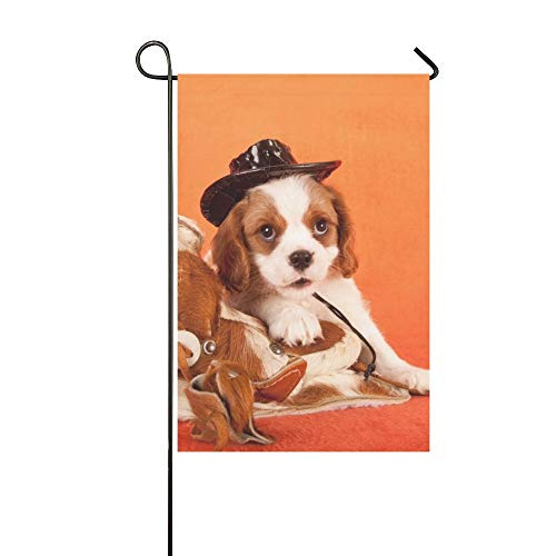 Home Decorative Outdoor Double Sided Cavalier King Charles Spaniel Puppy Miniature Garden Flag,house Yard Flag,garden Yard Decorations,seasonal Welcome Outdoor Flag 12 X 18 Inch Spring Summer Gift ()
