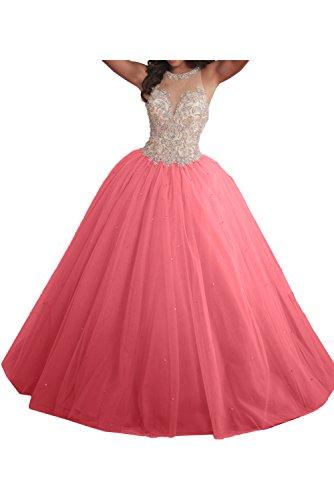 Linie Festkleid Ivydressing Duchesse Abendkleider Wassermelone Ballkleider Hochwertig Damen Lang Promkleid wXXYTHP