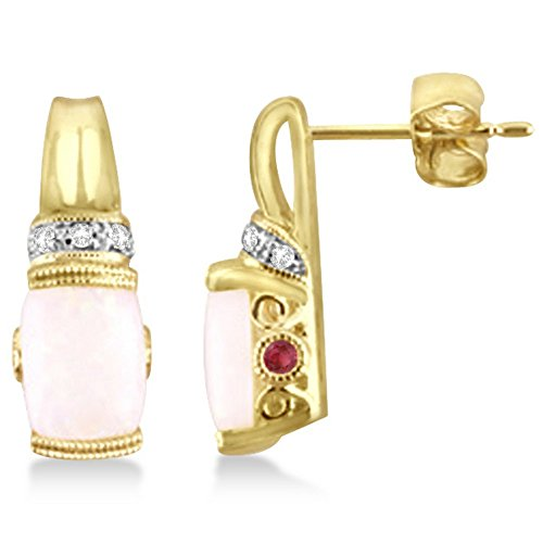 Cabochon Opal, Pink tourmaline and Diamond Earrings for Women in