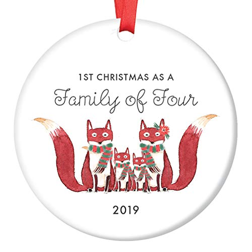 Family of Four Ornament 2019 First Christmas Second Child Cute Fox Family of 4 Baby Shower Present 2nd Infant Mom Dad Parents Newborn Holiday Keepsake 3