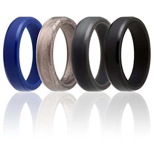 ROQ Silicone Wedding Ring for Men and Women, 6mm Affordable Silicone Rubber Band, 4 Pack - Black, Dark Grey, Blue, Storm Platinum - Size 10