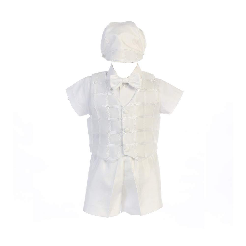 Little Boys White Joseph Square Pattern Vest Shorts Hat Baptism Set 3T