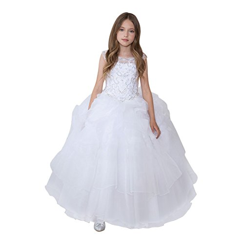 Calla Collection Little Girls White Glitter Ruffled Gorgeous Pageant Dress 3 by Calla Collection USA